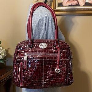BRIGHTON Wine Patent Croc Leather Satchel Bag